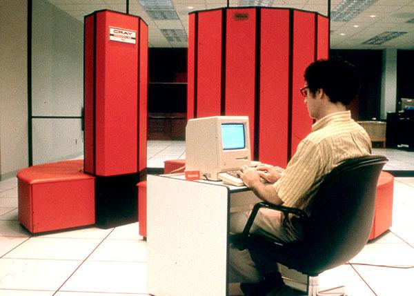 John Kogut connected to the Cray X-MP supercomputer